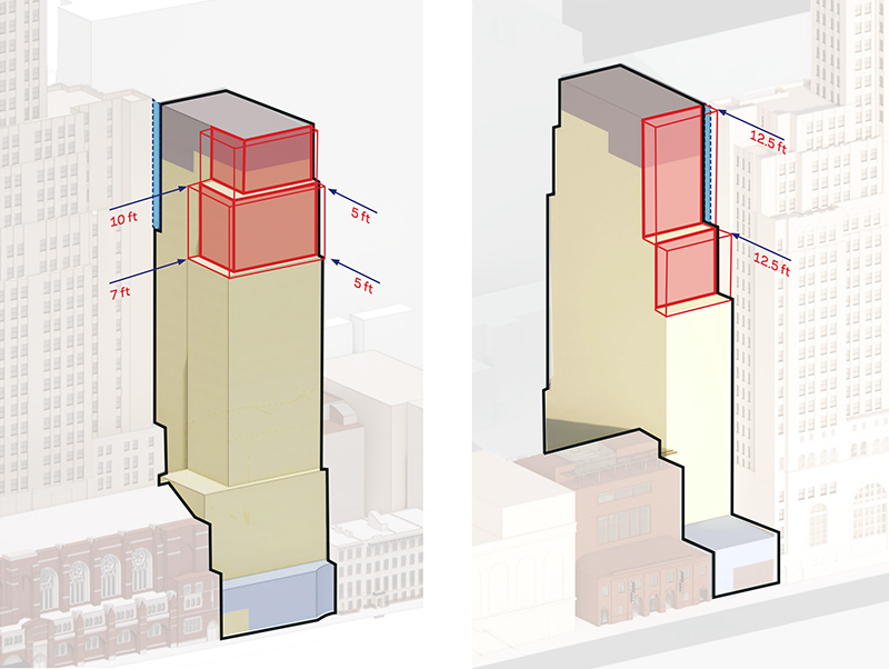 Massing diagram of 130 Saint Felix Street - FXCollaborative