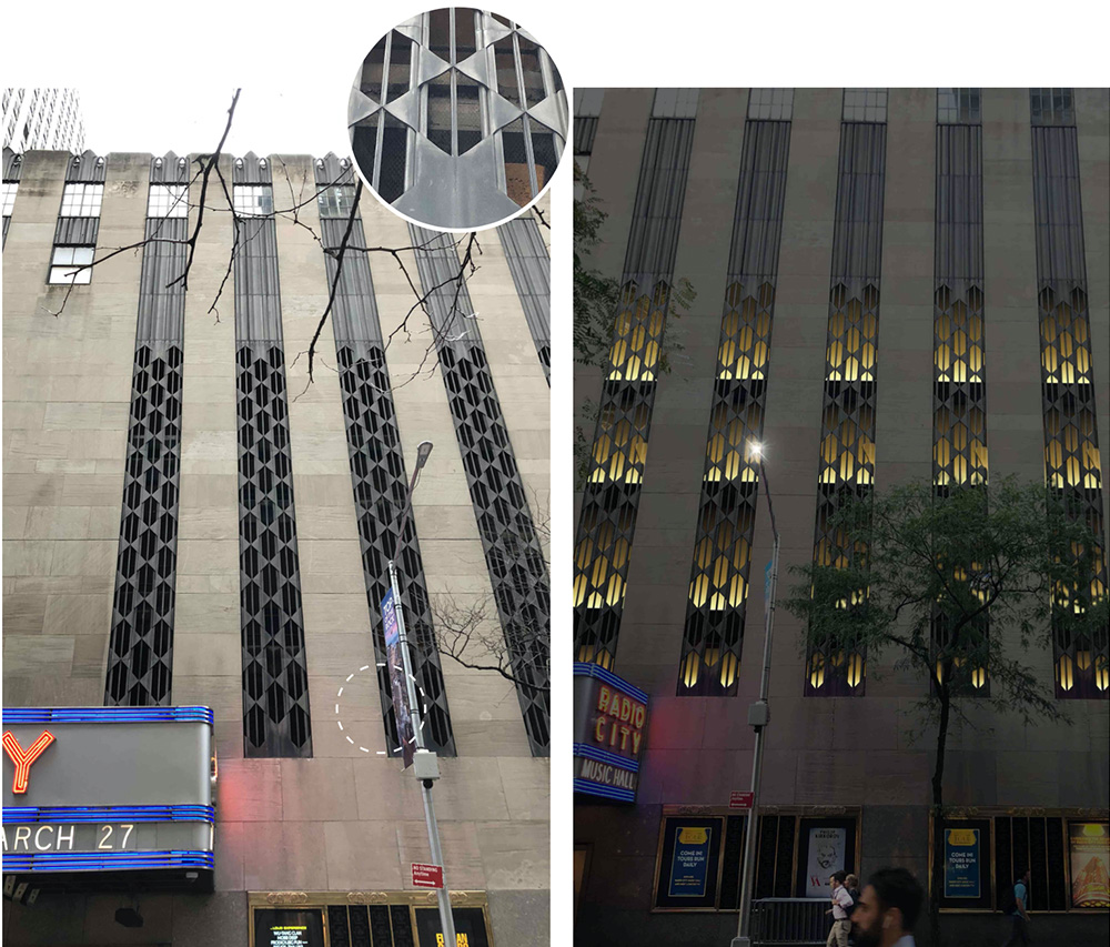 Metal grille facade at Radio City Music Hall - Existing (left) and proposed (right) -Gabellini Sheppard Associates