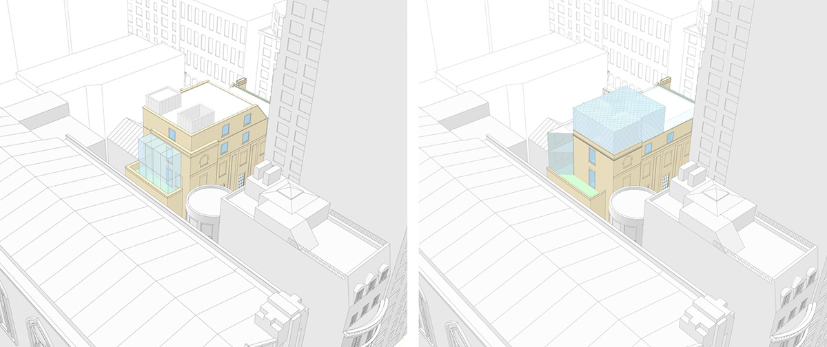 Northwest aerial view of proposed (left) and updated design (right) of 3 East 89th Street (Rafael Viñoly Architects)