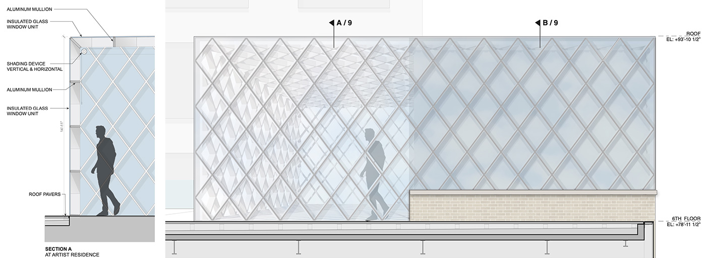 Proposed 6th Floor Facade Detail at 3 East 89th Street (Rafael Viñoly Architects)