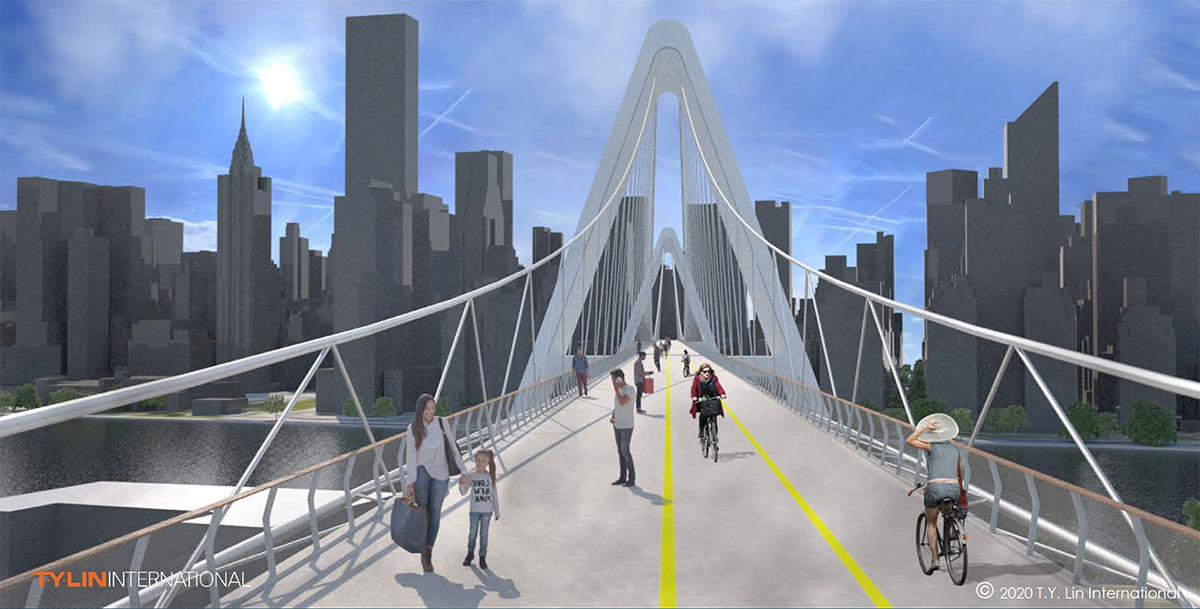 Rendering of Queens Ribbon looking towards Manhattan showing dedicated facilities for bicyclists and pedestrians - T.Y. Lin International
