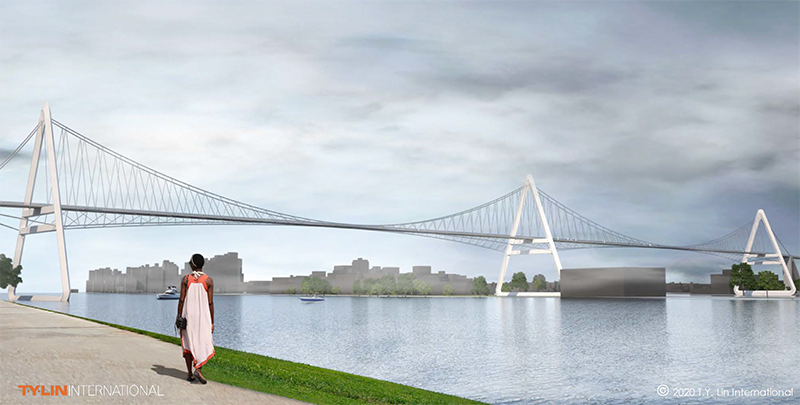 Rendering of Queens Ribbon; view from Manhattan's east side - T.Y. Lin International