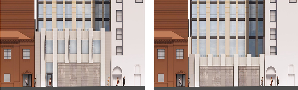 Rendering of lower level facade at 130 Saint Felix Street (Ashland Place Elevation) - FXCollaborative