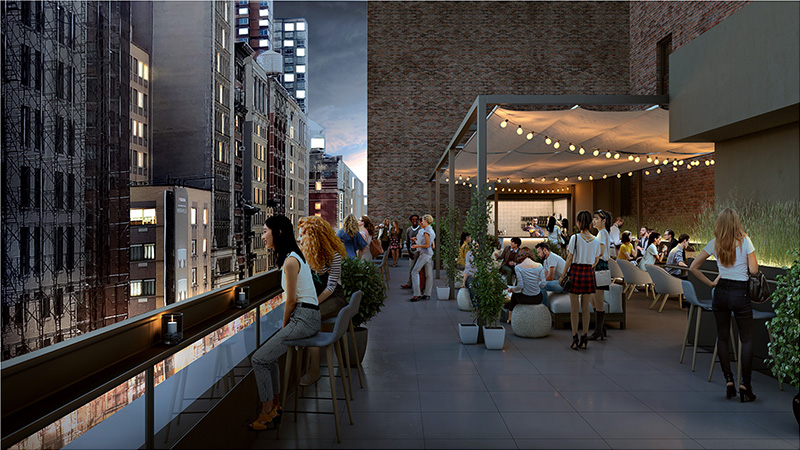 Rendering of rooftop venue space at 234 Fifth Avenue - NV/design.architecture
