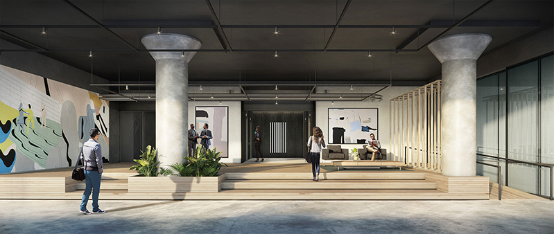 Rendering of the renovated lobby at The Bridge at 24-02 49th Avenue - Innovo Property Group