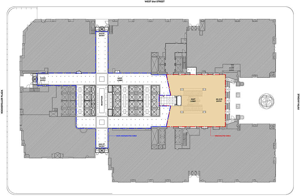 Site plan of ground floor spaces at 45 Rockefeller Plaza - (Gabellini Sheppard Associates)