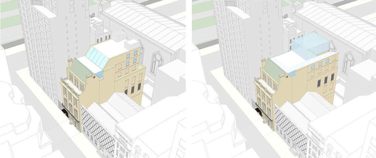 Southeast aerial view of proposed (left) and updated design (right) of 3 East 89th Street (Rafael Viñoly Architects)