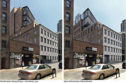 Originally proposed (left) and previously approved renderings (right) of 53 Pearl Street from BKSK Architects. The ADA ramp illustrated will no longer be constructed.