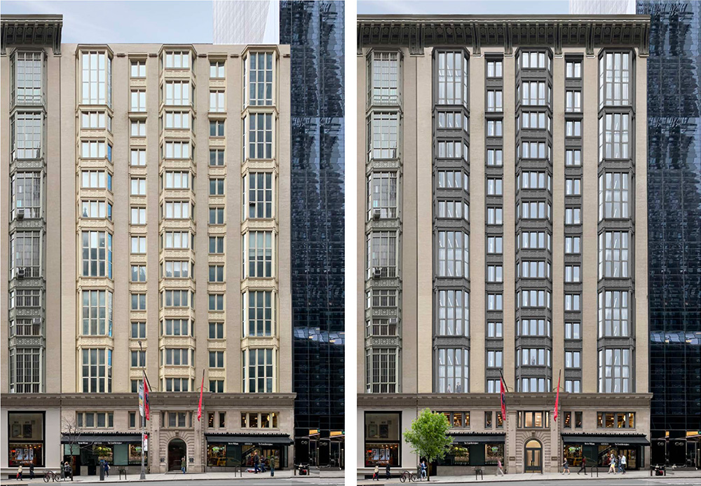 Existing conditions (left) and proposed renderngs (right) of The Office Townhouse at 140 West 57th Street - MdeAS Architects
