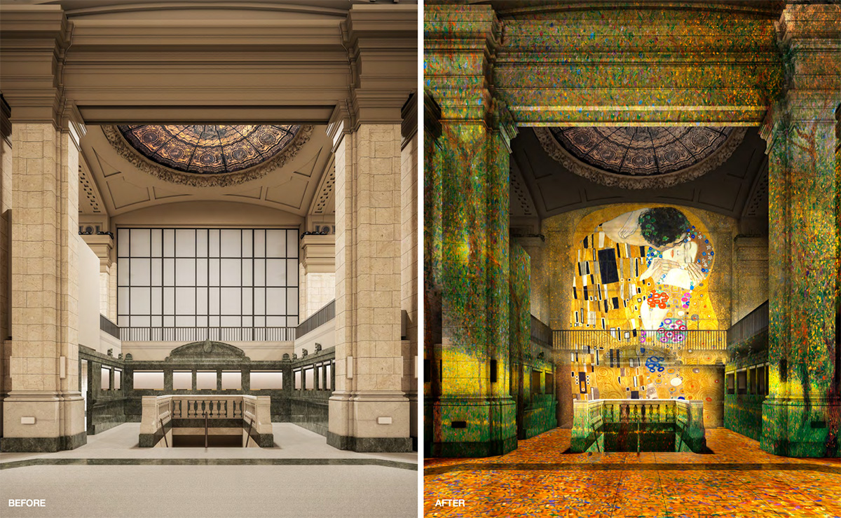 Existing conditions (left) and rendering of immersive exhibition space 'Hall Des Lumieres' - Culturespaces _ Woods Bagot