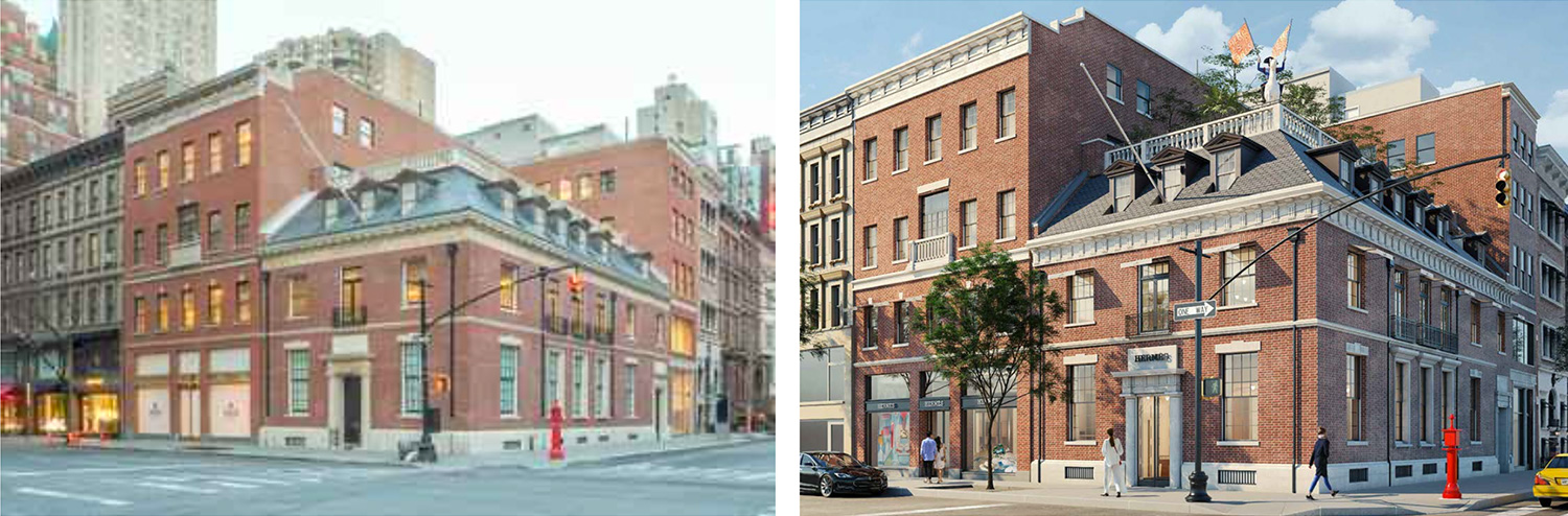 Existing conditions (left) and rendering (right) of 706 Madison Avenue / Hermès - Spacesmith