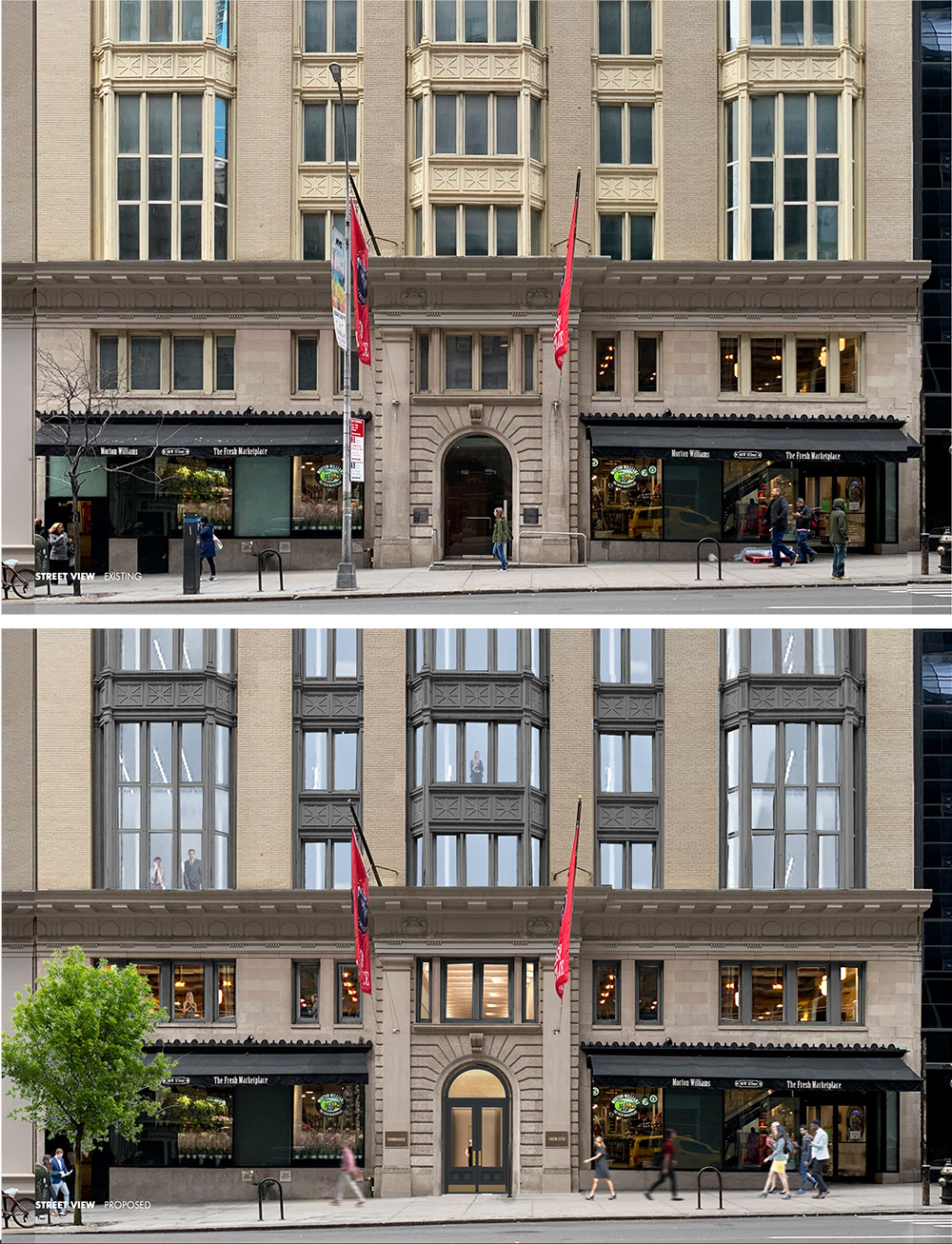 Existing conditions (top) and proposed renderngs (bottom) of lower level facade of The Office Townhouse at 140 West 57th Street - MdeAS Architects