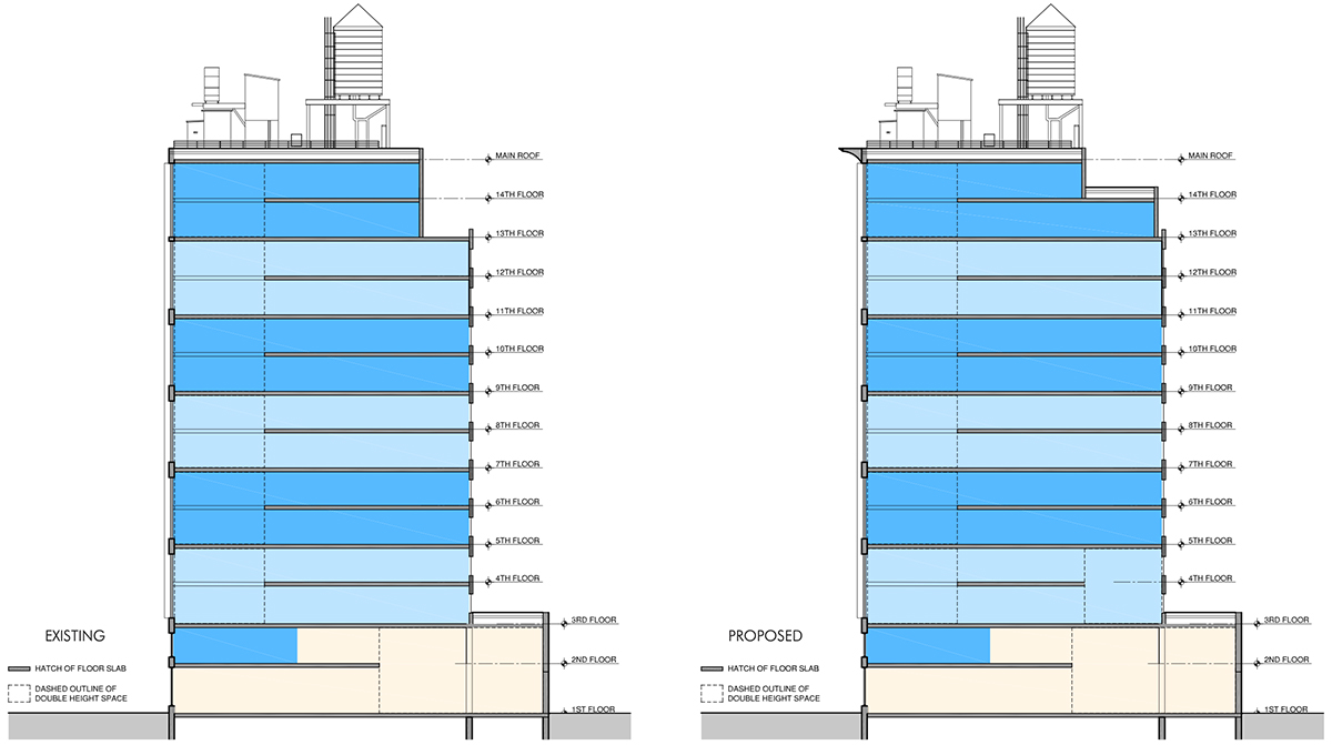 Existing elevations (left) and proposed changes (right) at The Office Townhouse _ 140 West 57th Street - MdeAS Architects