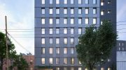 Rendering depicts south-facing view of 'Betances' at 445 East 142nd Street - COOKFOX