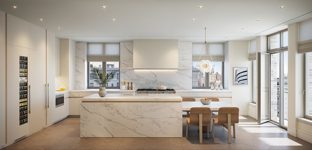 Rendering of 10th Floor Kitchen at 1228 Madison Avenue - Illustration by Grain London