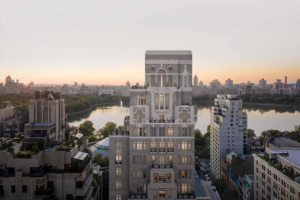 Rendering of 1228 Madison crown over Jacqueline Kennedy Onassis Reservoir - Illustration by Grain London