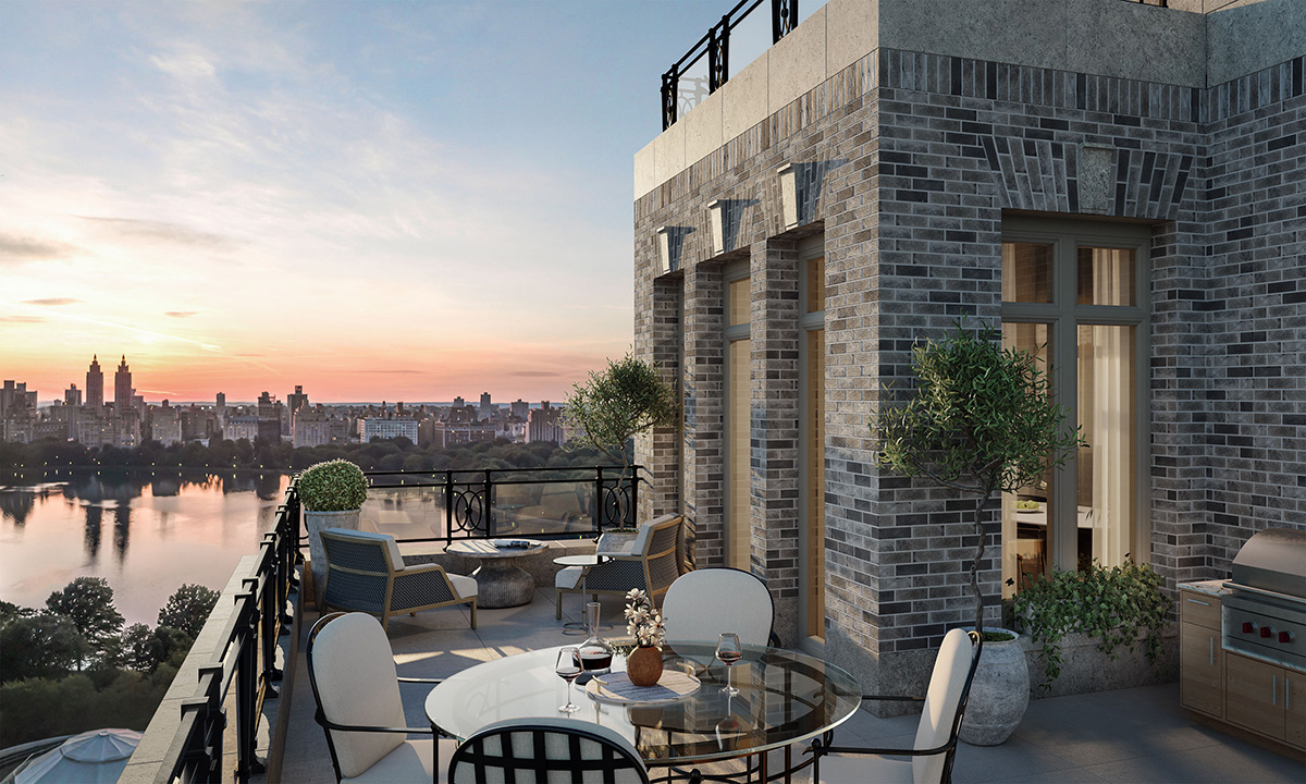 Rendering of 16th floor residential terrace at 1228 Madison Avenue - Illustration by Grain London