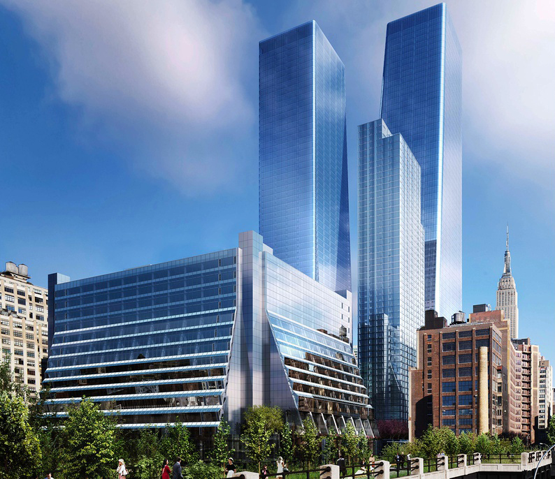 Rendering depicts a street-level view of the Manhattan West complex- Brookfield Property Partners
