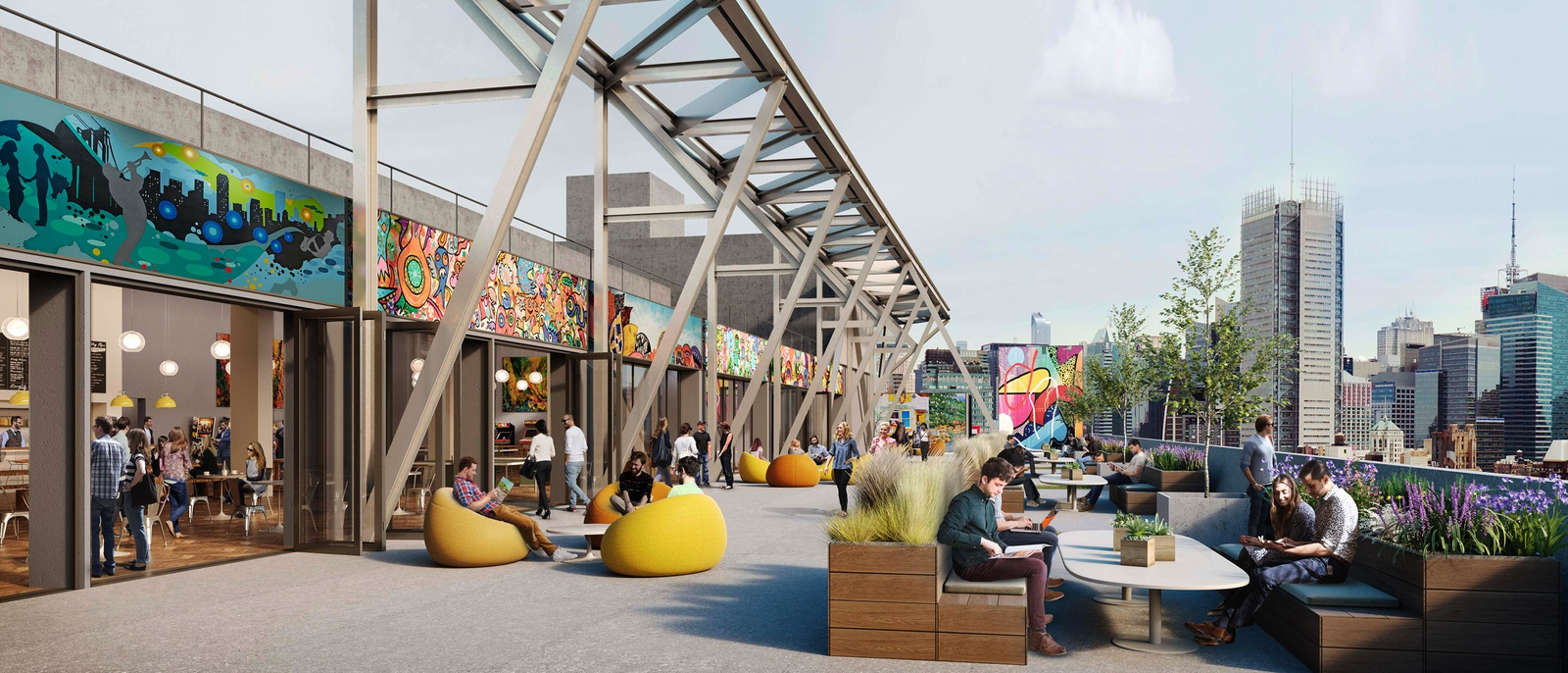 Rendering of outdoor space at Five Manhattan West - Brookfield Property Partners