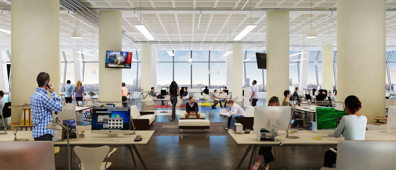 Rendering of office space within Five Manhattan West - Brookfield Property Partners