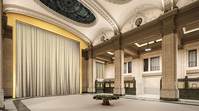 Rendering of exhibition curtain system - Culturespaces / Woods Bagot
