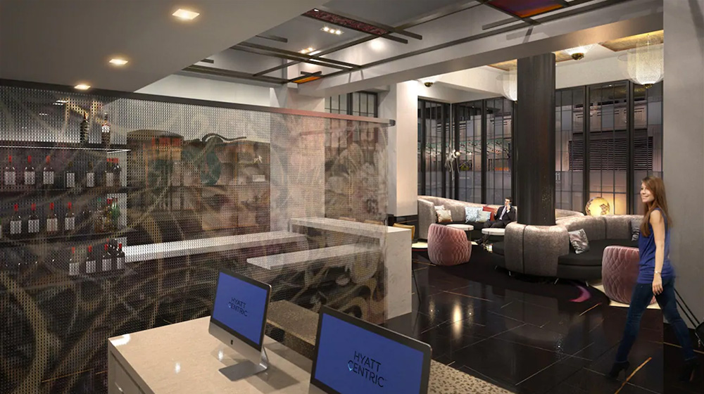 Rendering of lobby at Hyatt Centric 39th & 5th - Gene Kaufman Architect