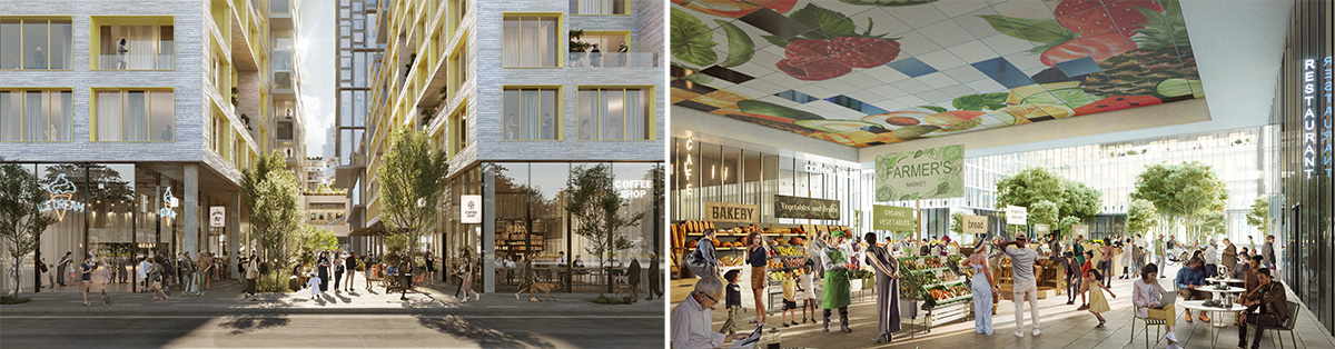 Rendering of pedestrian plaza and super market at Innovation QNS - ODA New York