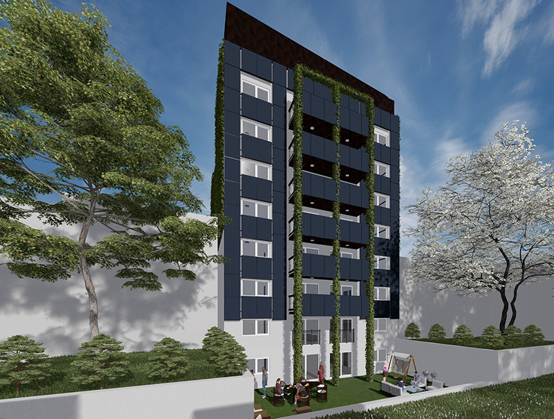 Rendering of rear facade at 1525-1527 Bryant Avenue - Node Architecture Engineering