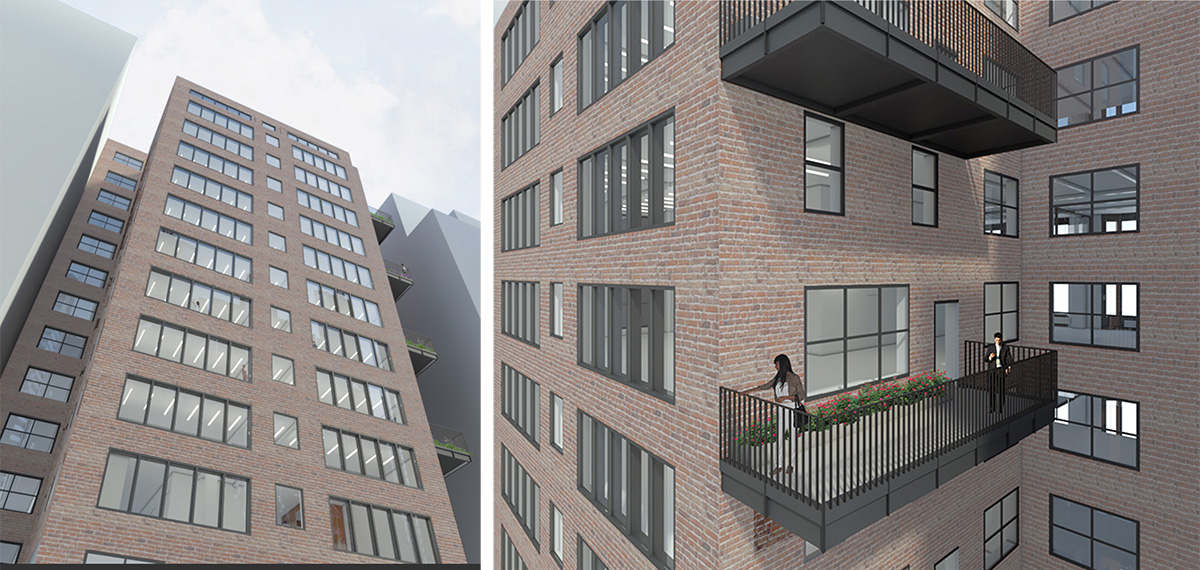 Renderings illustrate courtyard elevation at The Office Townhouse _ 140 West 57th Street - MdeAS Architects