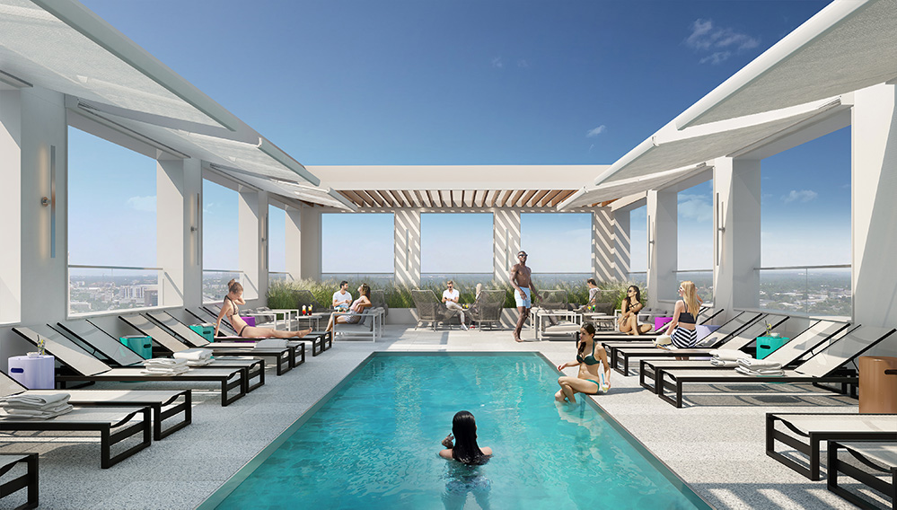 Rooftop pool at DVORA 175 - Rendering courtesy of Pax Brooklyn