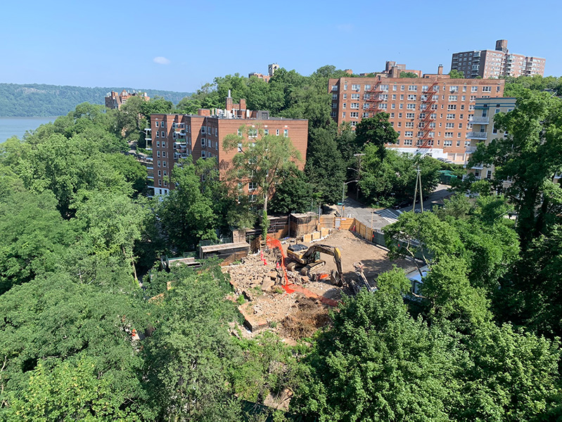 Aerial view of construction at 2395 Palisade Avenue
