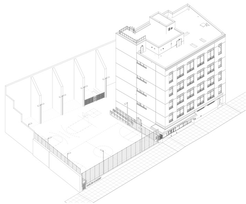 Axiometric rendering of Harlem Academy at 655 St. Nicholas Avenue - Perkins Eastman
