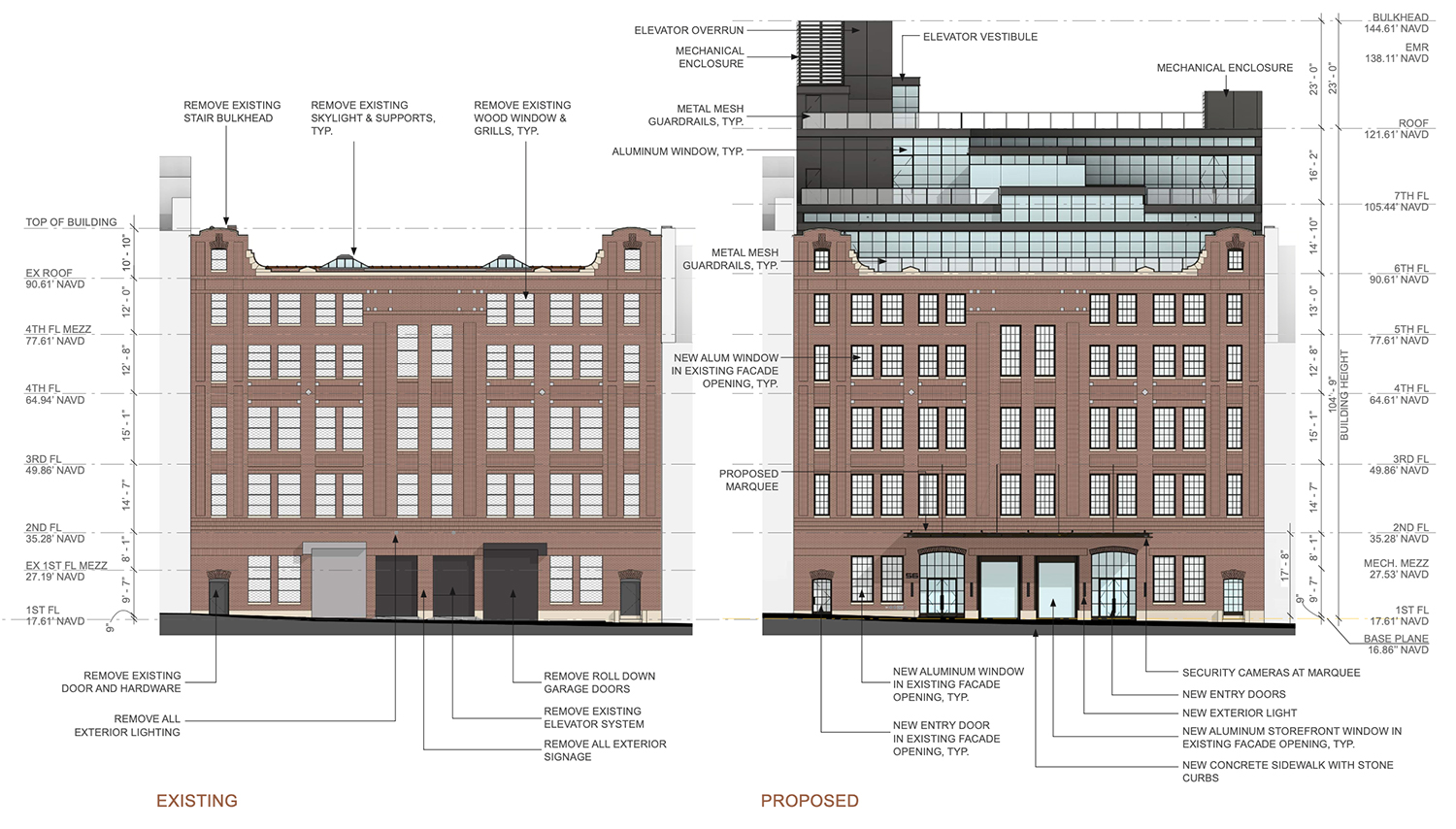 Elevation diagram illustrates existing conditions (left) and proposed expansion (right) at 56 North Moore Street - ODA