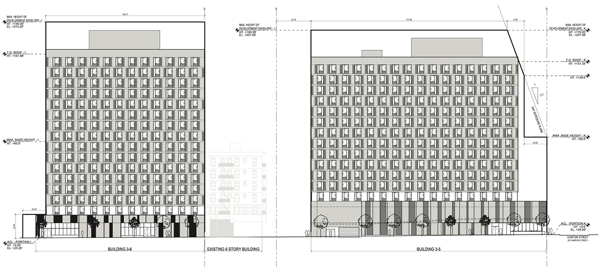 Elevation diagram illustrates the north elevations of proposed Building 3-5 and Building 3-6 within the Seward Park Extension - Handel Architects