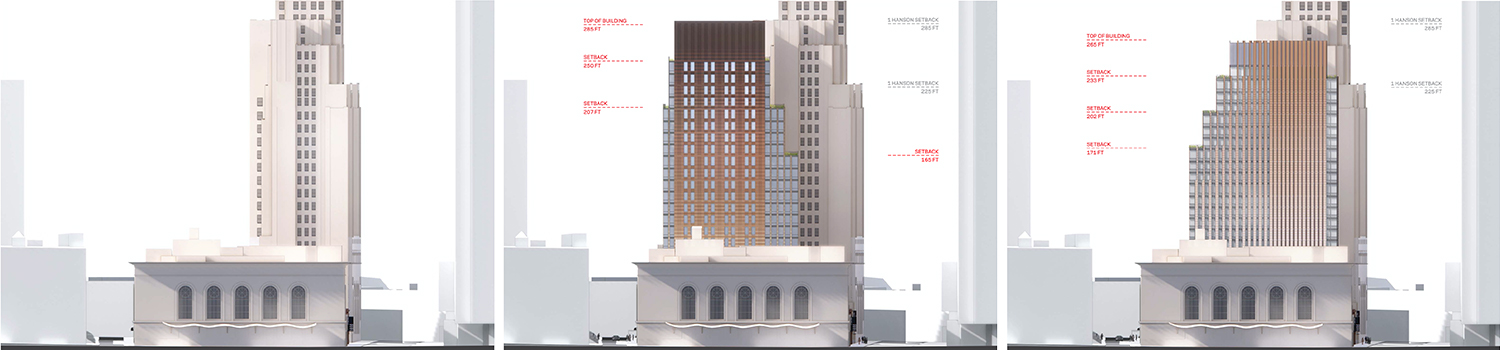 From left to right, diagram illustrates existing conditions, formerly proposed renderings, and revised renderings of the north elevation - FXCollaborative