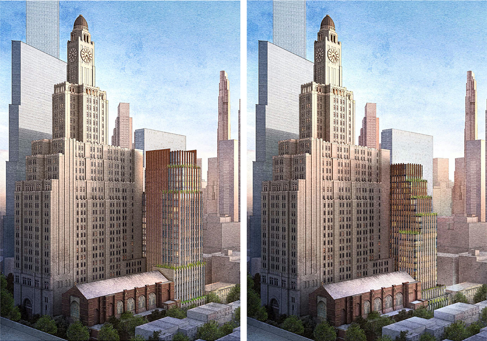 From left to right, formerly proposed and updated rendering of 130 Saint Felix Street - FXCollaborative