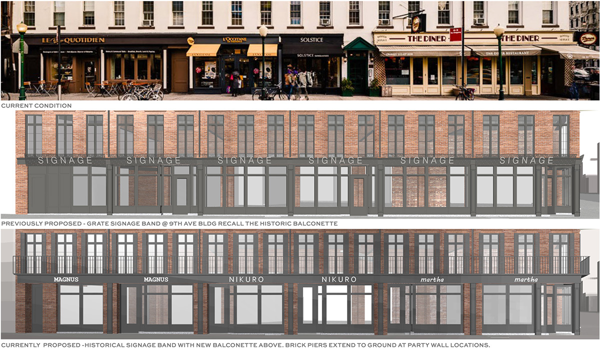 From top to bottom, the image depicts the existing storefront along 14th street, previous alteration renderings, and updated renderings of proposed alterations along Ninth Avenue - BKSK Architects