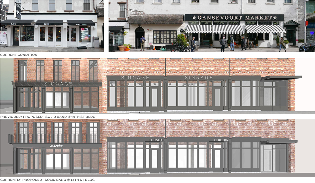 From top to bottom, the image depicts the existing storefront along 14th street, previous alteration renderings, and updated renderings of proposed alterations - BKSK Architects