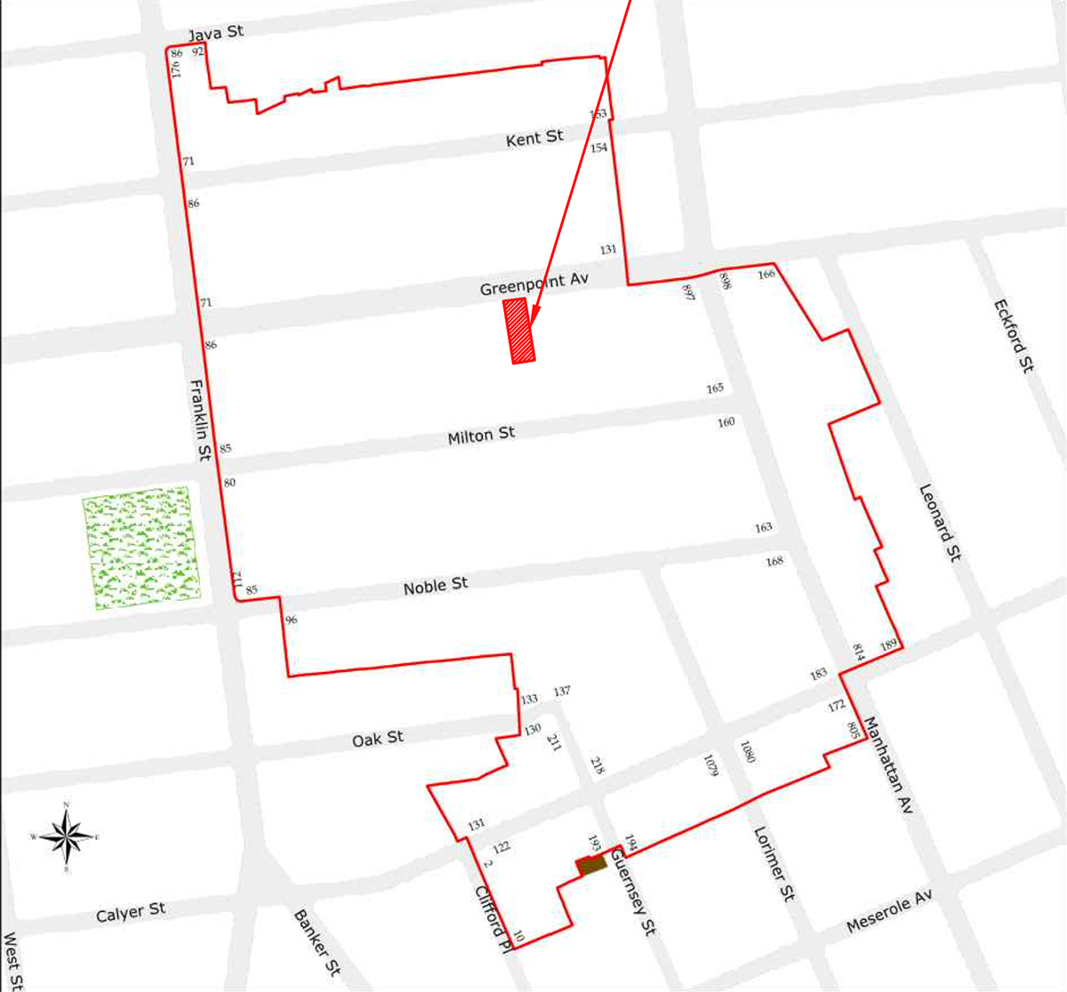 Map of Greenpoint Historic District and 134 Greenpoint Avenue (highlighted in red) - Atelier Adam Jakubowski