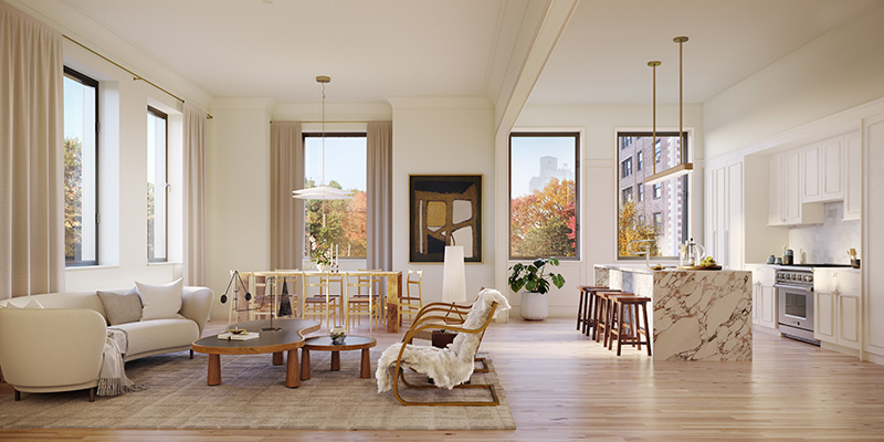 Model kitchen and living room at One Prospect Park West - Binyan Studios