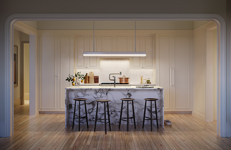 Model kitchen at One Prospect Park West - Binyan Studios