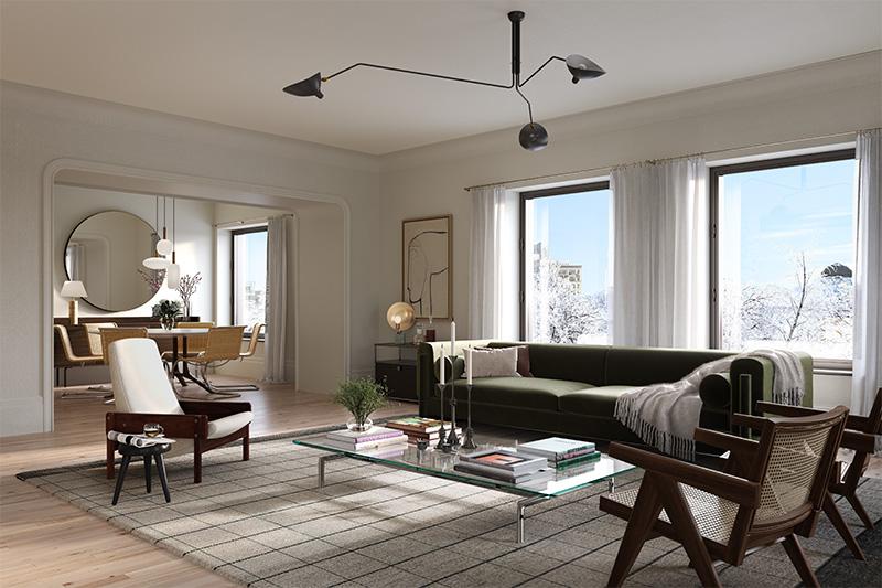 Model living room at One Prospect Park West - Binyan Studios