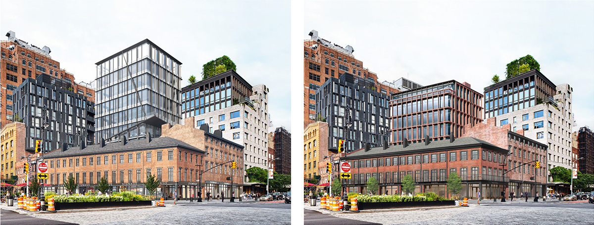 Previous rendering (left) and newly proposed property (right) at 14th Street and Ninth Avenue - BKSK Architects