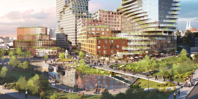 Proposed rendering of Chicken Island Redevelopment's pedestrian plazas that seamlessly link with the Saw Mill River Daylighting Phase 3 and 4 (in the foreground)