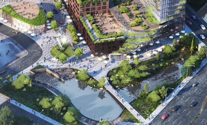 Proposed rendering of Chicken Island Redevelopment's pedestrian plaza