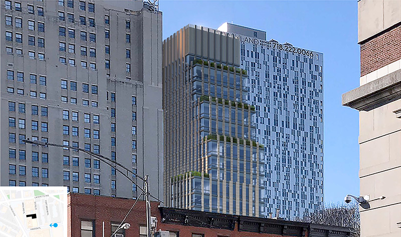 Rendering illustrates tiered upper levels at 130 Saint Felix Street - FXCollaborative