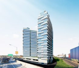 Rendering of Flushing Point Plaza's residential towers - Lu Ning Architecture