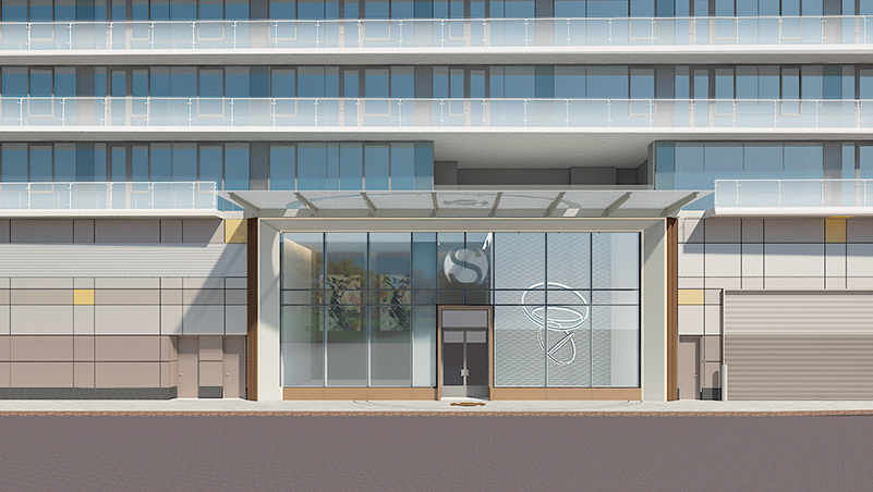 Rendering of residential entrance at Flushing Point Plaza - Lu Ning Architecture