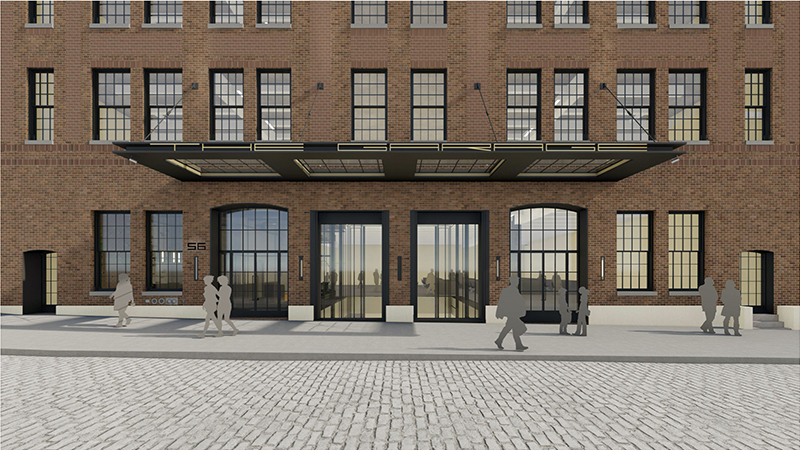 Rendering of ground level marquee at 56 North Moore Street - ODA