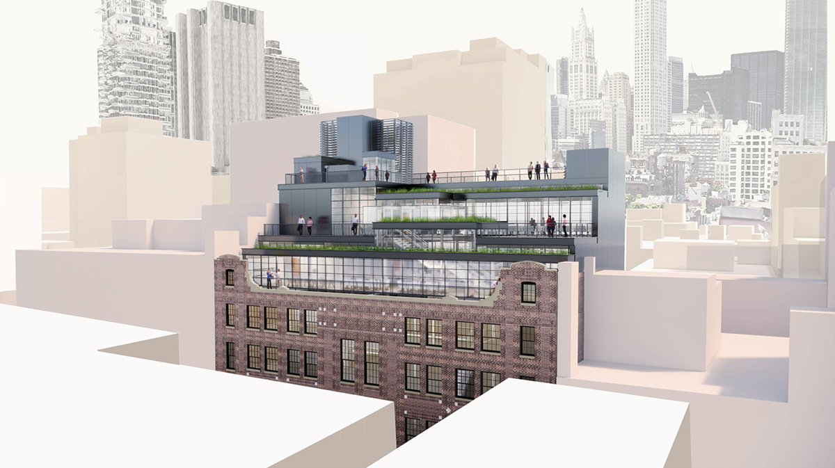 Rendering of proposed expansion at 56 North Moore Street - ODA